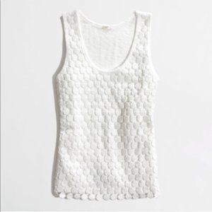 J.CREW - White Tiered Lace Dot Tank Top